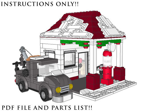 Lego Custom Winter Village Gas Station Tow Truck Instructions