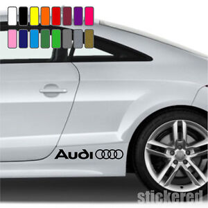 2-x-AUDI-LOGO-RINGS-CAR-VINYL-STICKERS-DECALS-SIDE-SKIRT-GRAPHICS-16-COLOURS