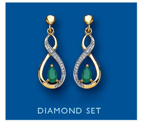 Emerald and Diamond Earrings Yellow Gold Drop Natural Stones Hallmarked
