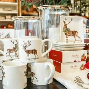Pottery-Barn-Set-4-Silly-Stag-Plates-Square-Appetizer-Christmas-Deer-Antler-NIB