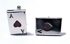 Vintage-Deco-Mens-Cufflinks-Ace-of-Hearts-Red-Cards-Cuff-Links-Gift-Silver-Poker