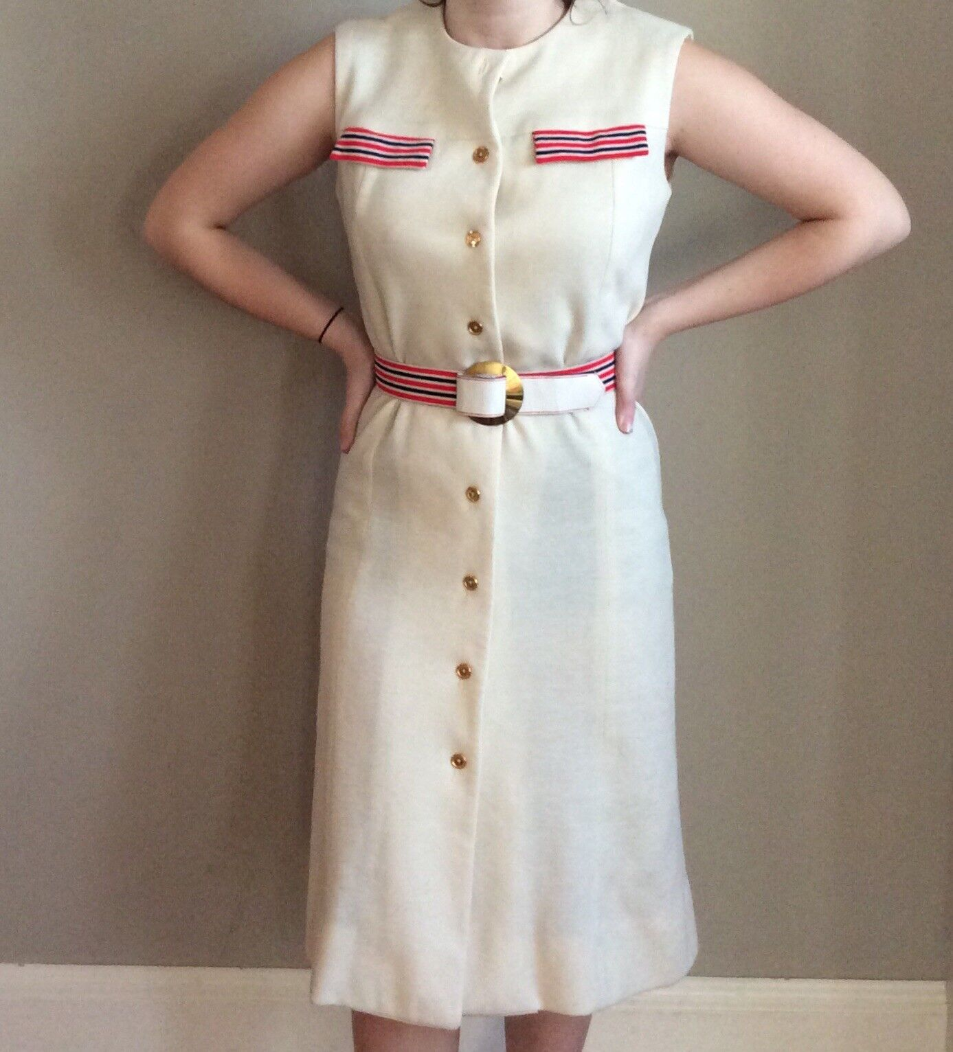 Vintage Sacony Exclusive Button Front Belted Shif… - image 1