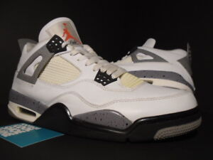 f37bd9b76ab2 NIKE AIR JORDAN IV 4 RETRO WHITE CEMENT GREY BLACK FIRE RED OG ...