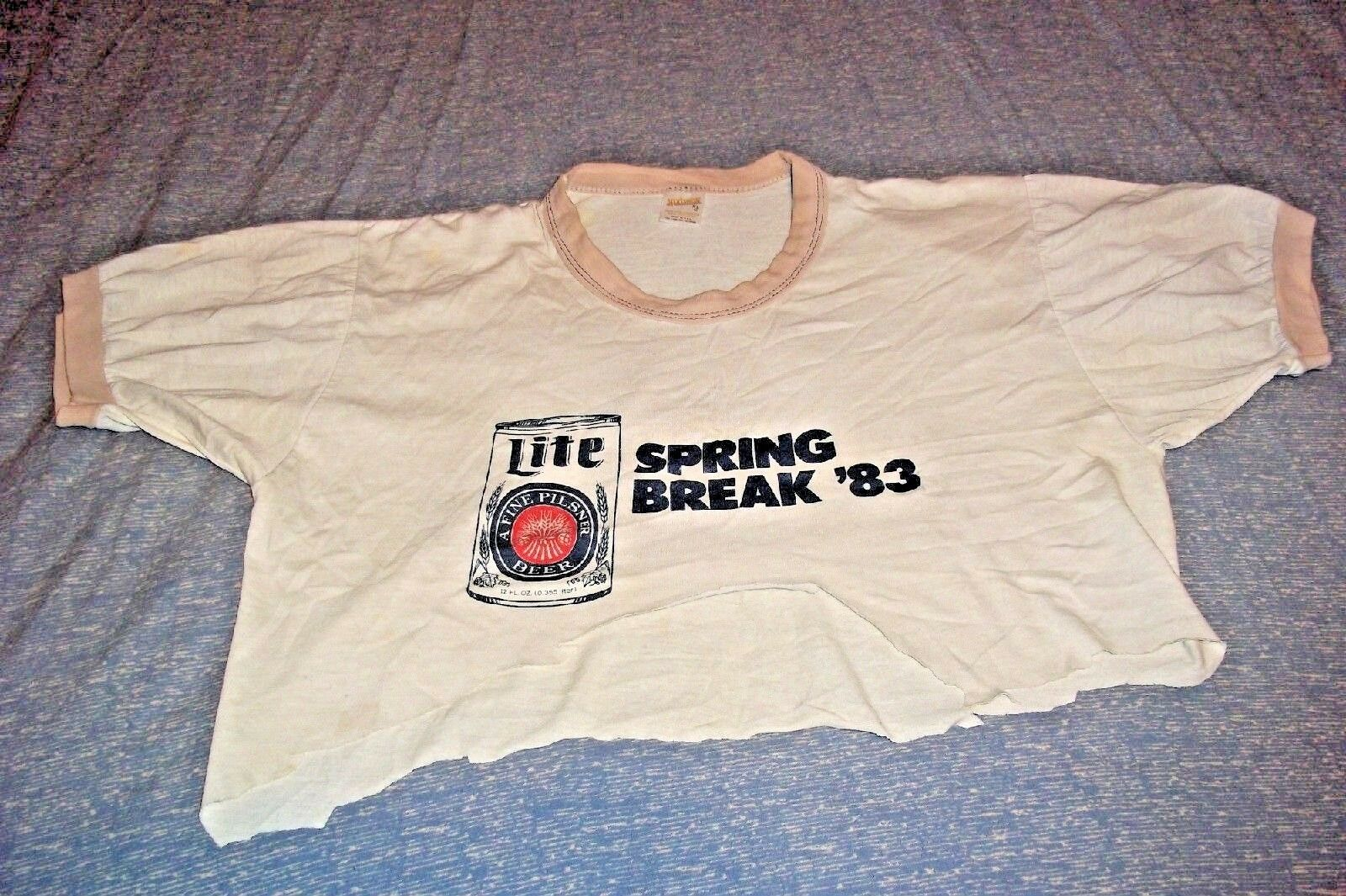 Miller Lite Spring Break '83 Vintage 1983 T-Shirt SPI Torn & Stains Med Made USA