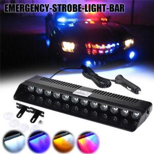 12V-12-LED-Auto-Strobe-Blitzlicht-Armaturenbrett-Notfall-Blink-Rot-Blau-Lampe