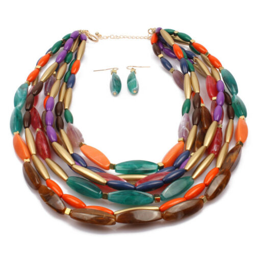 Multi-Color Gemstone Necklace Earring Set Chain Multilayer Jewelry Fashion Gift