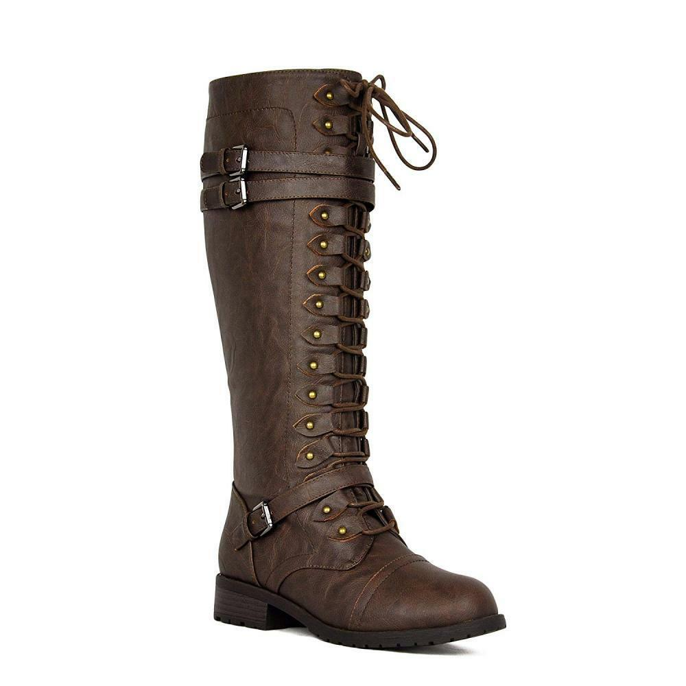 Wouomo Knee High Riding stivali Lace Up Buckles Winter Combat