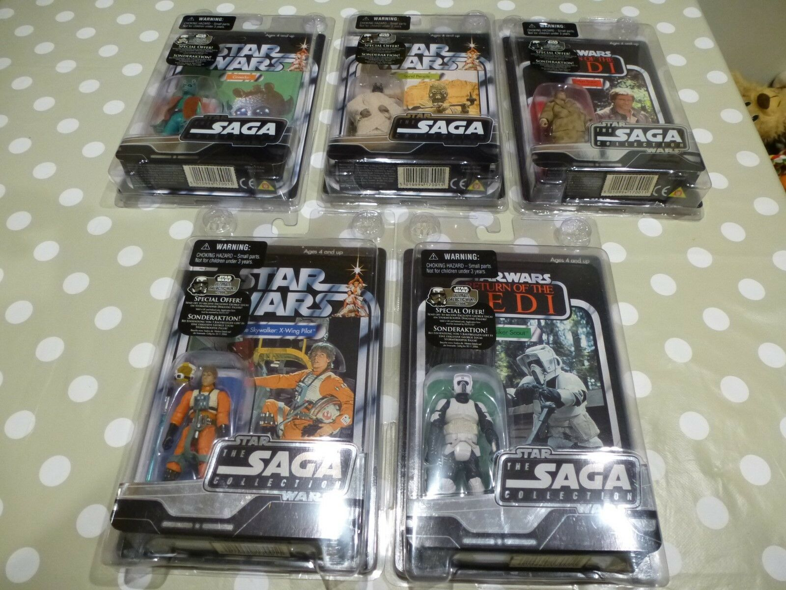 NEW Star Wars 2007 Sega Collection x5 Sand People Greedo Han Solo Biker Scout