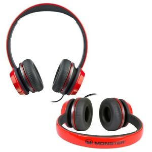 Monster-N-Tune-High-Performance-On-Ear-Headphones-w-3-5mm-Plug-Red-Black