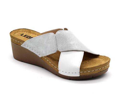 Leon Ciabatte zoccoli bianco Leather 1008 Women Sandali On Slip Nuovo Ladies 4rH084