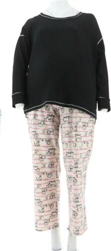 Cuddl Duds Comfortwear French Terry Pajama Set Dog Stripe XL NEW A294887