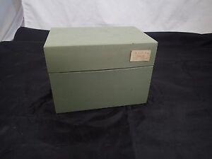 Vintage-Mcm-Industrial-Verde-Metal-Caja-Nota-Tarjeta-Organizador-15-9cm-x-11-4cm