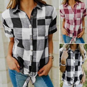 ZANZEA-Women-039-s-Plaid-Check-Causal-Summer-T-Shirt-Tee-Tops-Bowknot-Blouse-Shirt