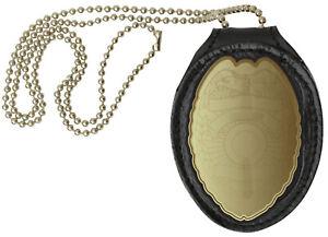 Black-Leather-Clip-On-Shield-Style-Badge-Holder-Pocket-Belt-Clip-Neck-Chain