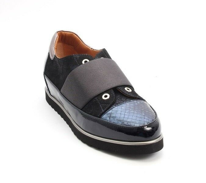 MOT-CLe 7067 Navy Patent Leather   Suede   Leather Wedge Loafers 40   US 10