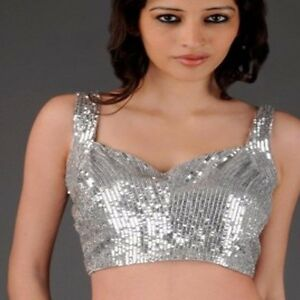 0c70a213aea40a New Ready Made Sequin Saree Choli Designer Sari Top Wedding Wear ...