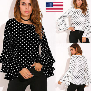 Women-Bell-Long-Sleeve-Loose-Polka-Dot-Shirt-Ladies-Casual-Blouse-Tops-Pullover