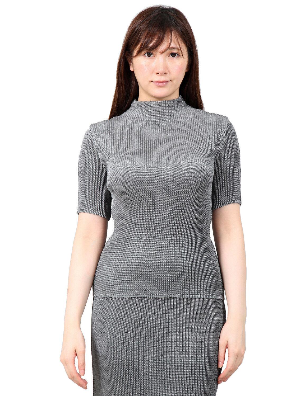 SHUTTLE PLEATS High-neck short-sleeve Blouse feel basic top damen Größe 2-28.