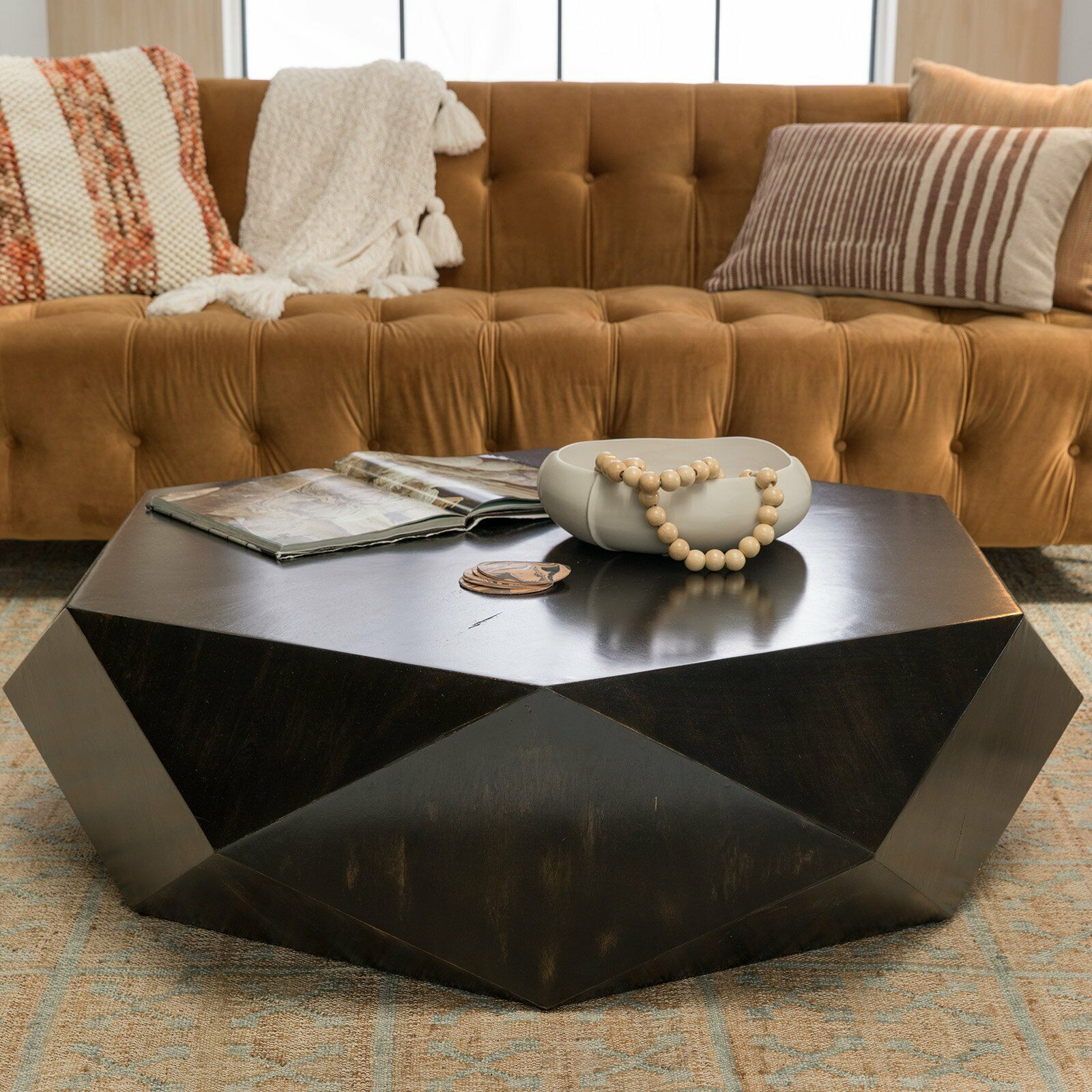 Faceted Large Round Light Wood Coffee Table Modern Geometric Block