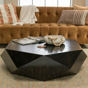Details About Faceted Large Geometric Coffee Table Round Black Wood Modern Block Solid Unique