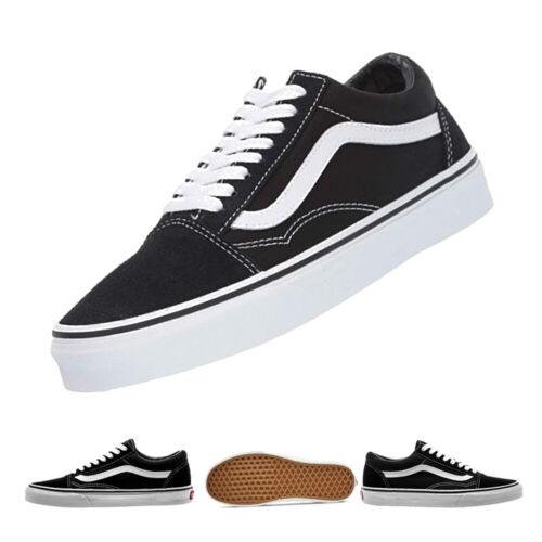 CLASSIC VAN Old Skool Skate Shoes Black//White All Size Canvas Sneakers UK3-UK9.5