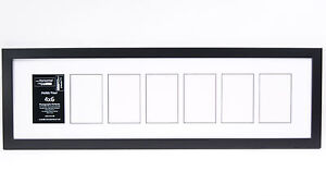 7 Opening Glass Face 10x36 Black Picture Frame Holds 4x6 Media White