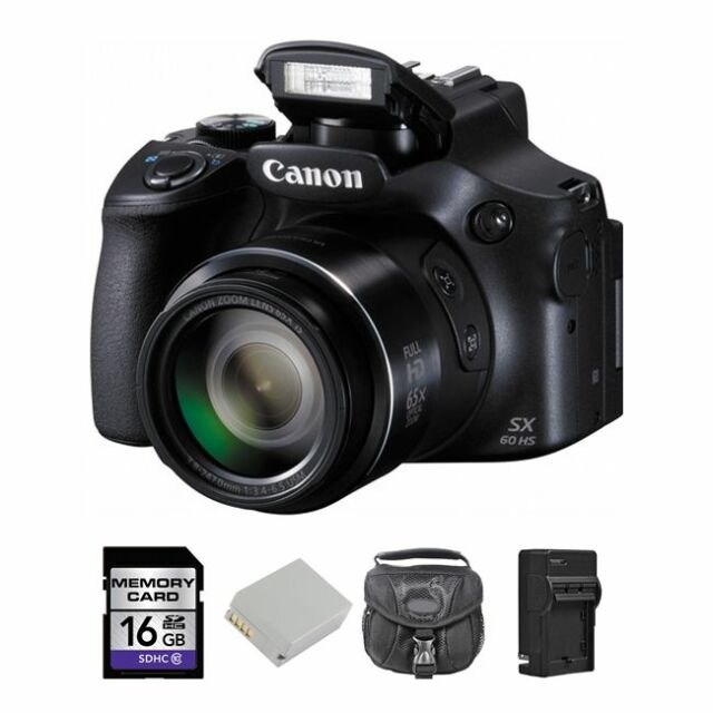 Canon PowerShot SX60 HS Digital Camera + 2 Batteries, 16GB & More
