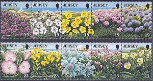 JERSEY-Gomma-integra-non-linguellato-UMM-Stamp-Set-1995-SG-707-716-Conservazione-della-Natura-Fiori