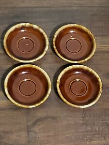 """Hull Brown Drip Glaze Oven Proof USA 6"""" Coffee Cup Plate Lot Of 4 Plates Vintage"""