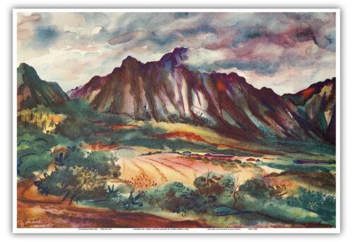 Oahu Hawaii UNITED AIR LINES Joseph Fehér 1948 Vintage Calendar Page Print