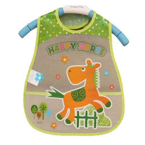 Baby Toddler Kids Sleeveless Bibs Apron Waterproof Feeding Animal Print Smock