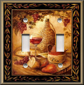 Metal-Light-Switch-Plate-Cover-Tuscan-Wine-And-Fruit-Kitchen-Decor-Wine-Decor