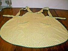 Vintage Full Bib Cotton Apron-Yellow with Small Red Flowers & Green Trim   (C-1)