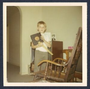 Boy-Holding-Objects-by-Old-Rocking-Chair-Vintage-Square-Photo-1960-039-s-70-039-s