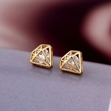 PRINCESS 9K REAL GOLD FILLED STUD EARRINGS MADE WITH SWAROVSKI CRYSTALS