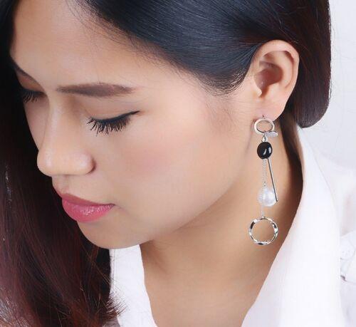 Fashion Silver Tone Tassel Pearl Ear Stud Drop Dangle Stud Earrings Gift K49