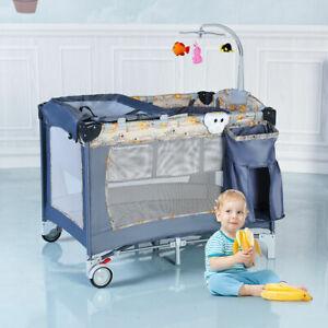 Babyjoy Foldable Baby Crib Playpen Playard Pack Travel Infant Bassinet Bed Gray