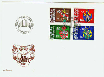 Briefmarken Rational Liechtenstein Fdc Ersttagsbrief 1980 Wappen Der Landammänner Mi.-nr.743-46