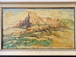 🔥 Antique California Plein Air Impressionist Oil Painting, Desert Landscape