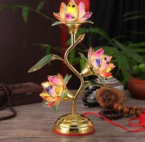 Lighting Lotus Lamp 3 Lotus Flowers Rainbow 17 Tall Sale
