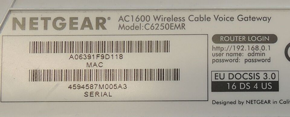 Router, wireless, Netgear AC1600 Cable modem router
