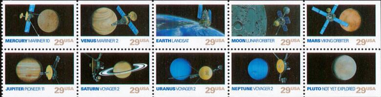 1991 29c Space Exploration, Booklet Pane of 10 Scott 25