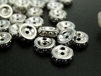 36 Vintage Czechoslovakian Metallic Rondelles 8mm Silver On Silver