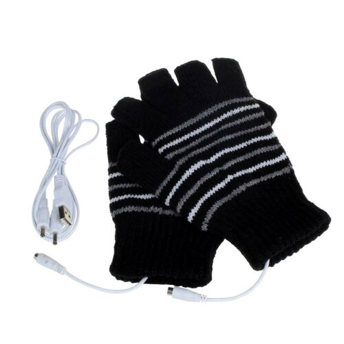 Unisex USB Electric Heated Warmer Gloves Rechargeable Heating Knit Mitten Gift