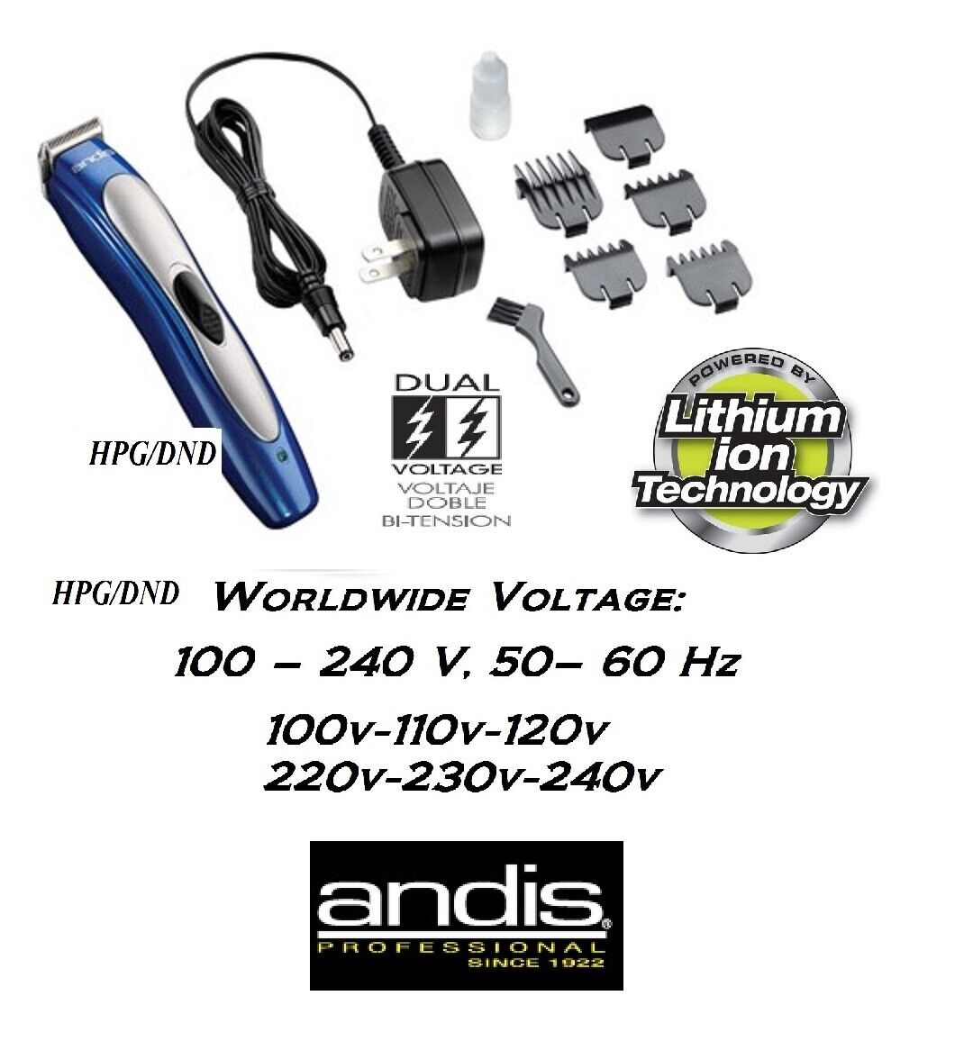 Andis LITHIUM ION CORDLESS or Corded Use RECHARGEABLE Trimmer Clipper & COMB SET