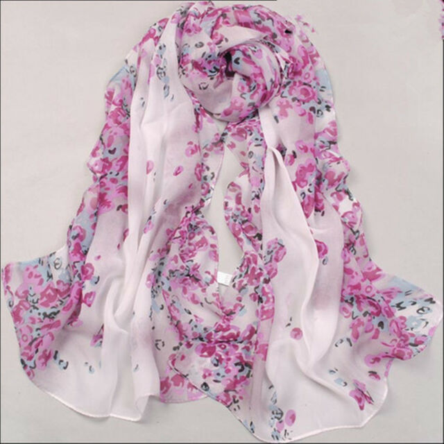 New Women's Fashion Georgette Long Wrap Shawl Beach Silk Scarf hot pink & white