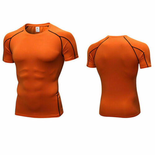 Mens Compression Sport Gym Running Fitness Shirts Breathable Outdoor Tight Tops