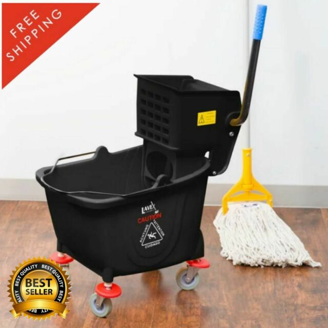 Plastic Mop Bucket With Wringer Home Cleaning Tools Durable Plastic Wide 20 Qt