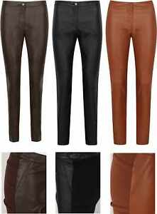 LEATHER-LOOK-LEGGINGS-TROUSERS-H-amp-M-STRETCH-PANTS-NEW-WOMENS-BLACK-SKINNY-PU