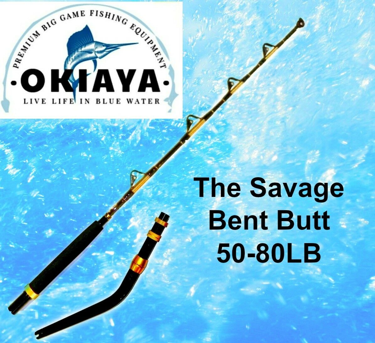 OKIAYA  THE SAVAGE 5080lb Bent Butt Saltwater Roller asta 5'6